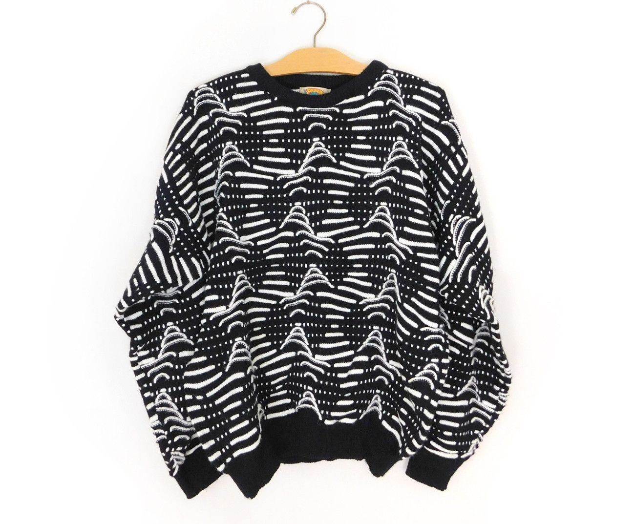 Sz L Baggy 80s Hipster Sweater - Men's Vintage Black and White ...