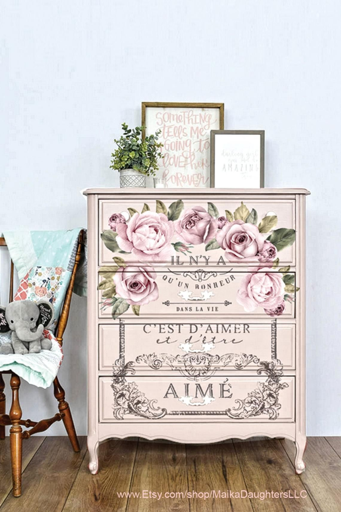 Rub On Transfers For Furniture Redesign With Prima Transfers Dans La Vie Rose French Furniture Transfers Diy Kids Furniture Flower Furniture Decoupage Furniture