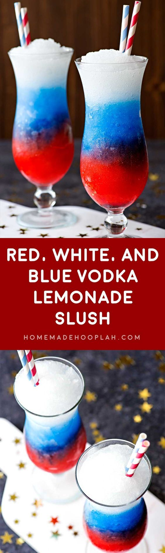 Red White and Blue Vodka Lemonade Slush! Celebrate your patriotism with a refreshing slush made with grenadine, blue curacao, and spiked lemonade. | HomemadeHooplah.com #summeralcoholicdrinks