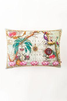 "Goodearth - Indian Ocean Cotton Linen Cushion - Aqua 20""x14"""