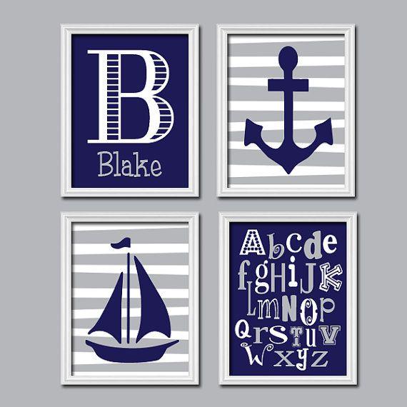 Nautical Navy Blue Grey Monogram Sailboat Sea Anchor Ocean Alphabet Set of 4 Prints Wall Decor Art Crib Nursery Child on Etsy, $35.00