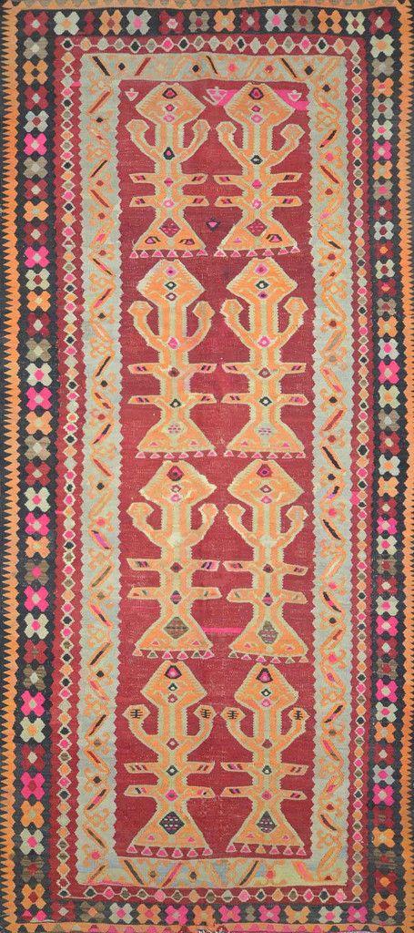 """Carpet Culture - TURKISH KILIM RUG - 5' - 4"""" X 12' - 1""""  - K-257"""