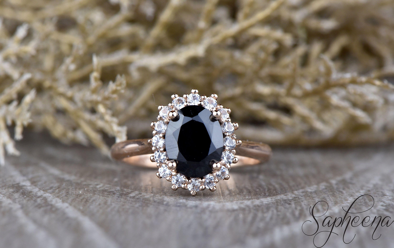 Black Spinel Diamond Engagement Ring In 14k White Etsy Gemstone Wedding Rings Flower Halo Engagement Ring Engagement Ring White Gold