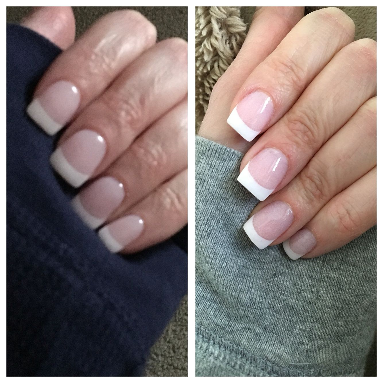 Sns Powder Nails Classic French Left On Short Tips Right On Natural Nails Love Pink French Nails French Tip Nails French Nails