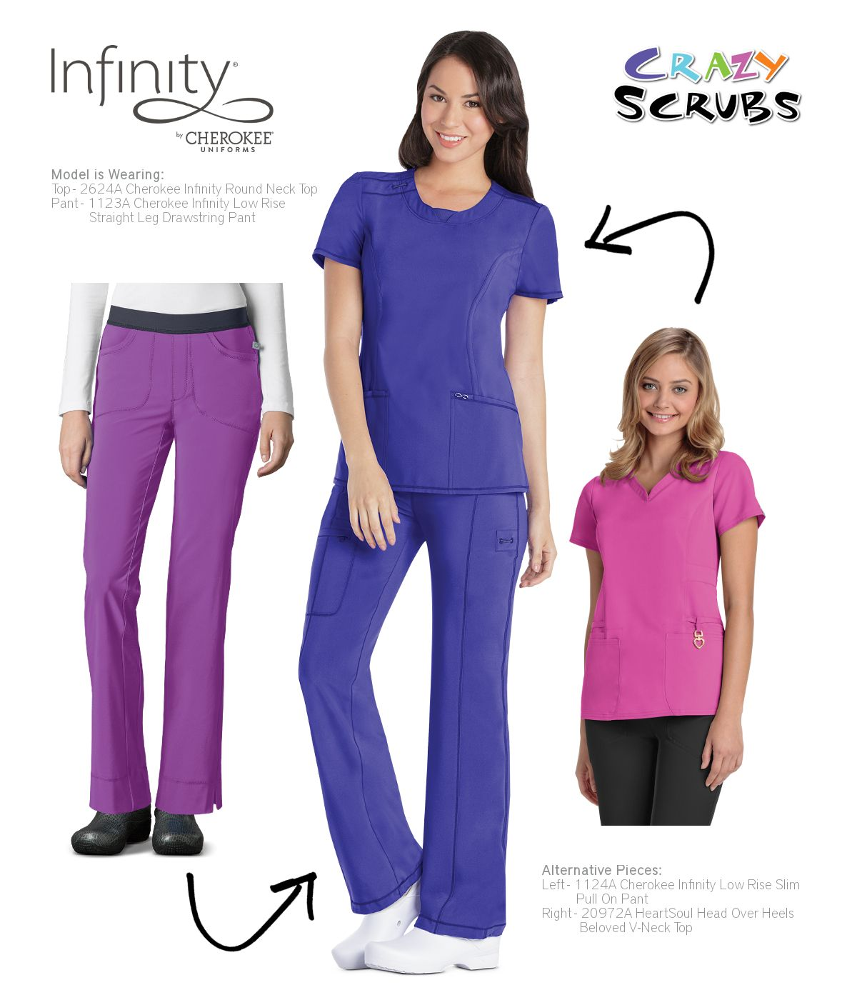 pin cherokee scrubs by alegria store uniforms infinity tee sleeve long knit