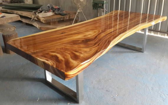 Live Edge Dining Table Golden Acacia Wood Reclaimed Single Slab