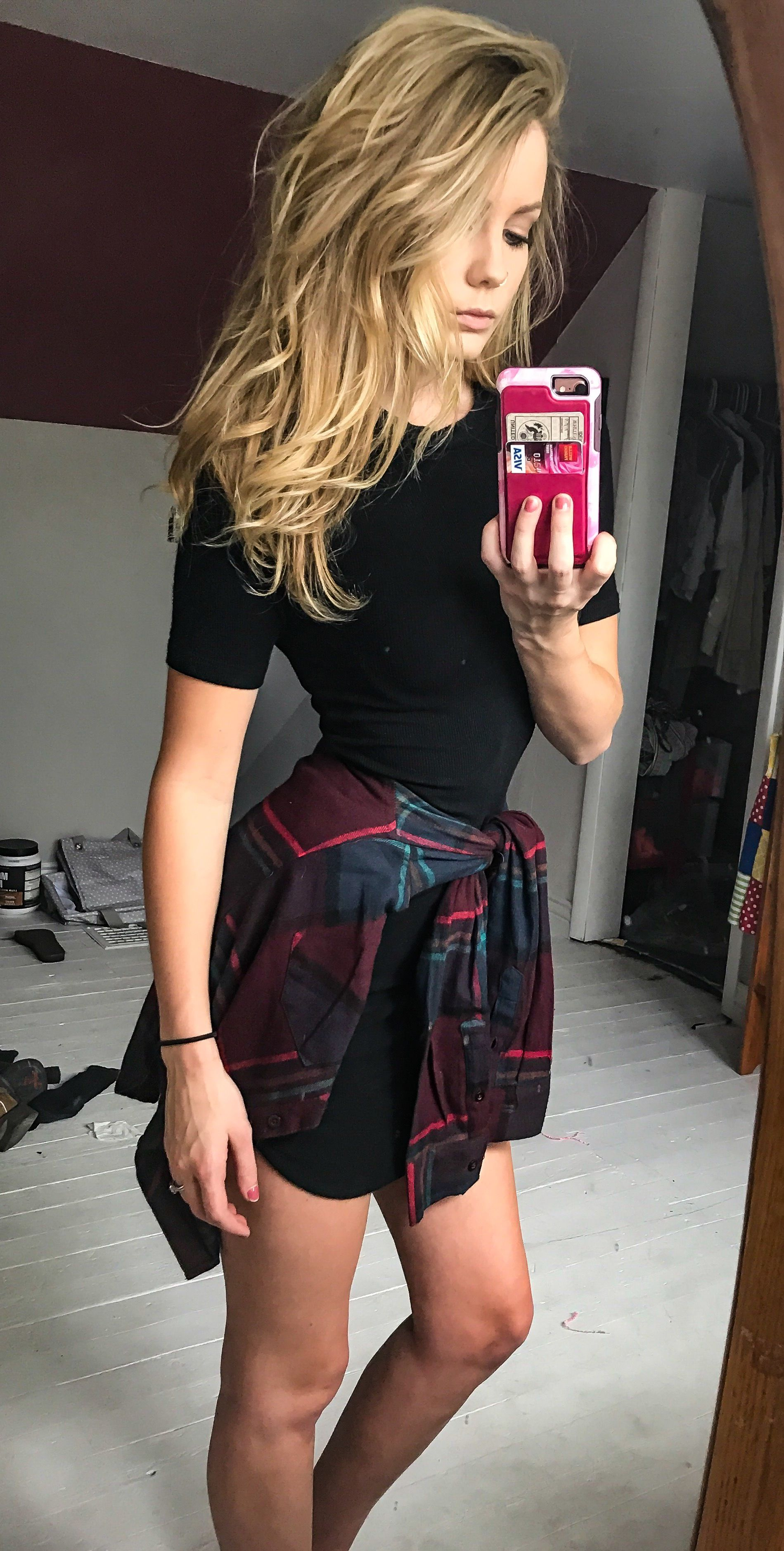 Black Mini Dress With Flannel Shirt Blonde Summer Outfits For Teens Mini Black Dress Dress With Flannel [ 3755 x 1899 Pixel ]