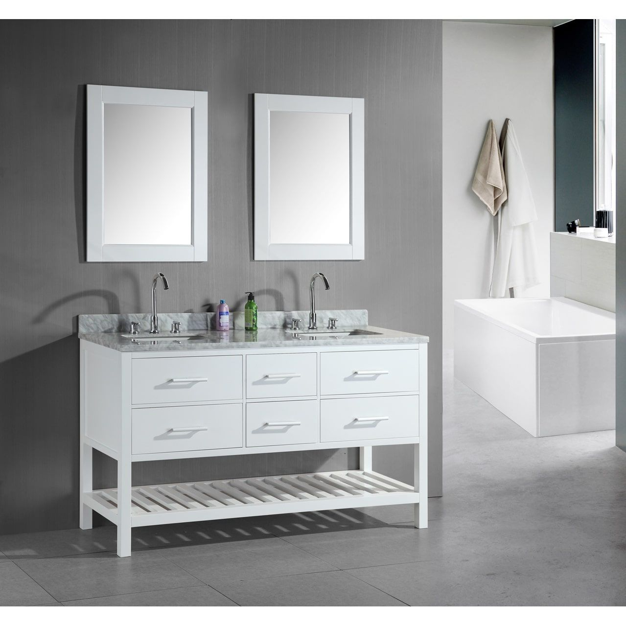 image of 60 inch double sink vanity in white
