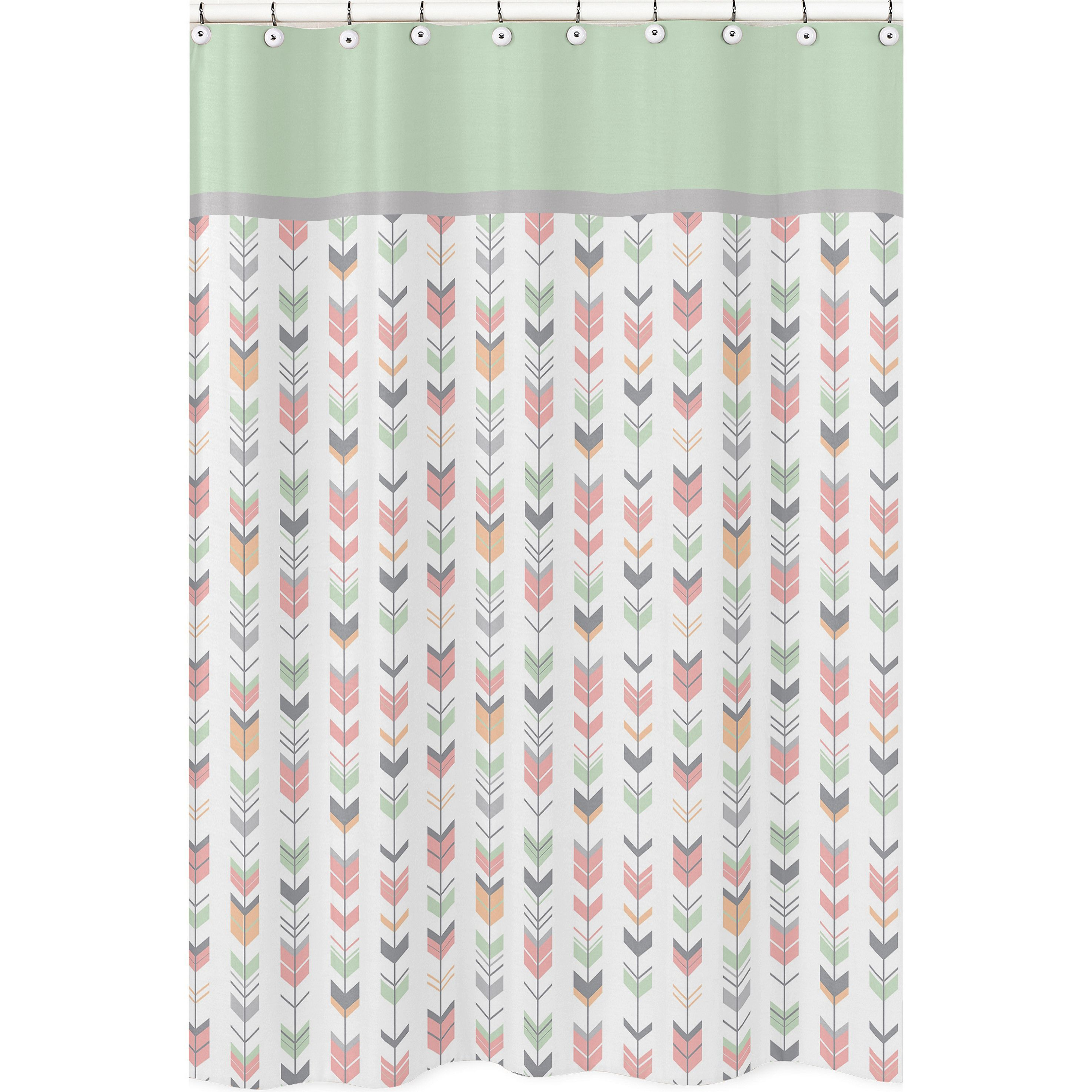 Coral and mint shower curtain - Coral And Mint Mod Arrow Shower Curtain By Sweet Jojo Designs