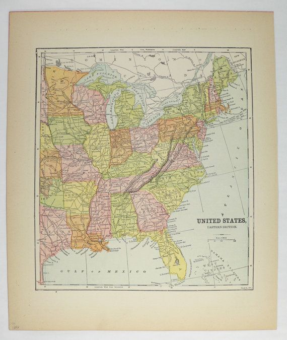 Eastern United States Map 1896 Antique Map, East Coast US Map ...