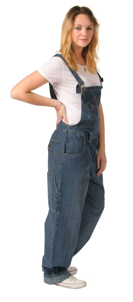 Peviani Relaxed Fit Dungarees for women Stonewash denim Plus Size