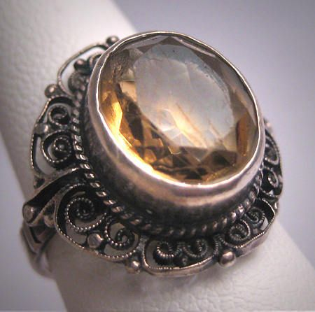 Antique Art Deco Italian Citrine Wedding Ring Vintage Filigree