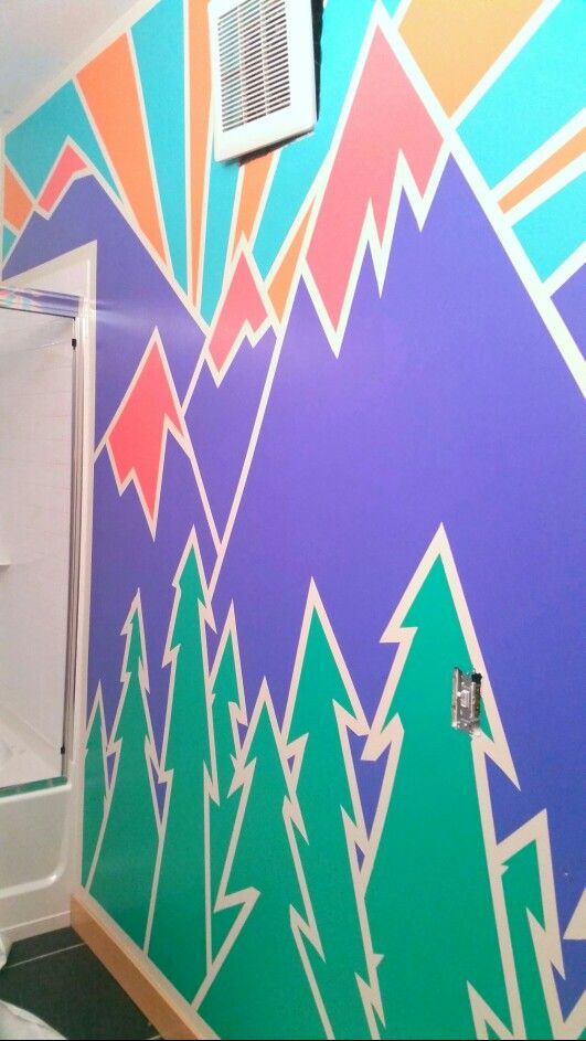 Geometric mountain design mural that I just painted on my wall So