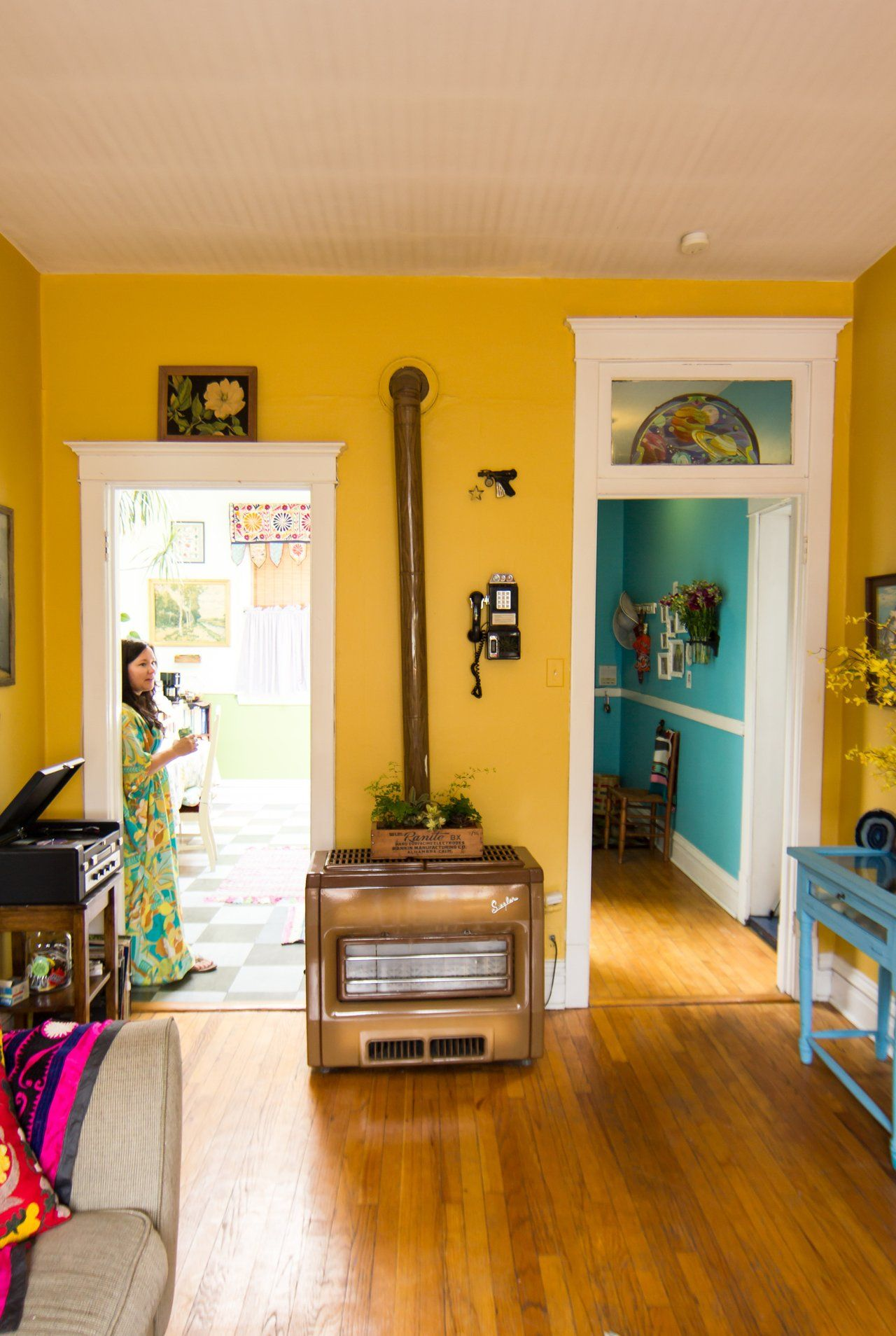 Amys vintage jewel tone apartment yellow walls bedroom yellow hallway paint yellow painted rooms