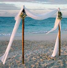 Vintage Beach Wedding Bamboo Arch Blue Bouquet Bridesmaids Brown Card Box Ceremony