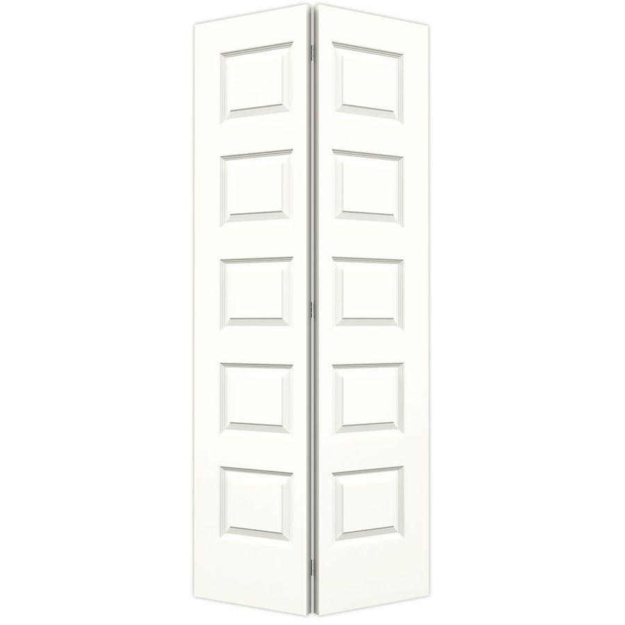 Jeld Wen Snow Storm Hollow Core 5 Panel Equal Bi Fold Closet Interior Door Common 36 In X 80 In Actual 35 With Images Bifold Door Hardware Bifold Doors Doors Interior