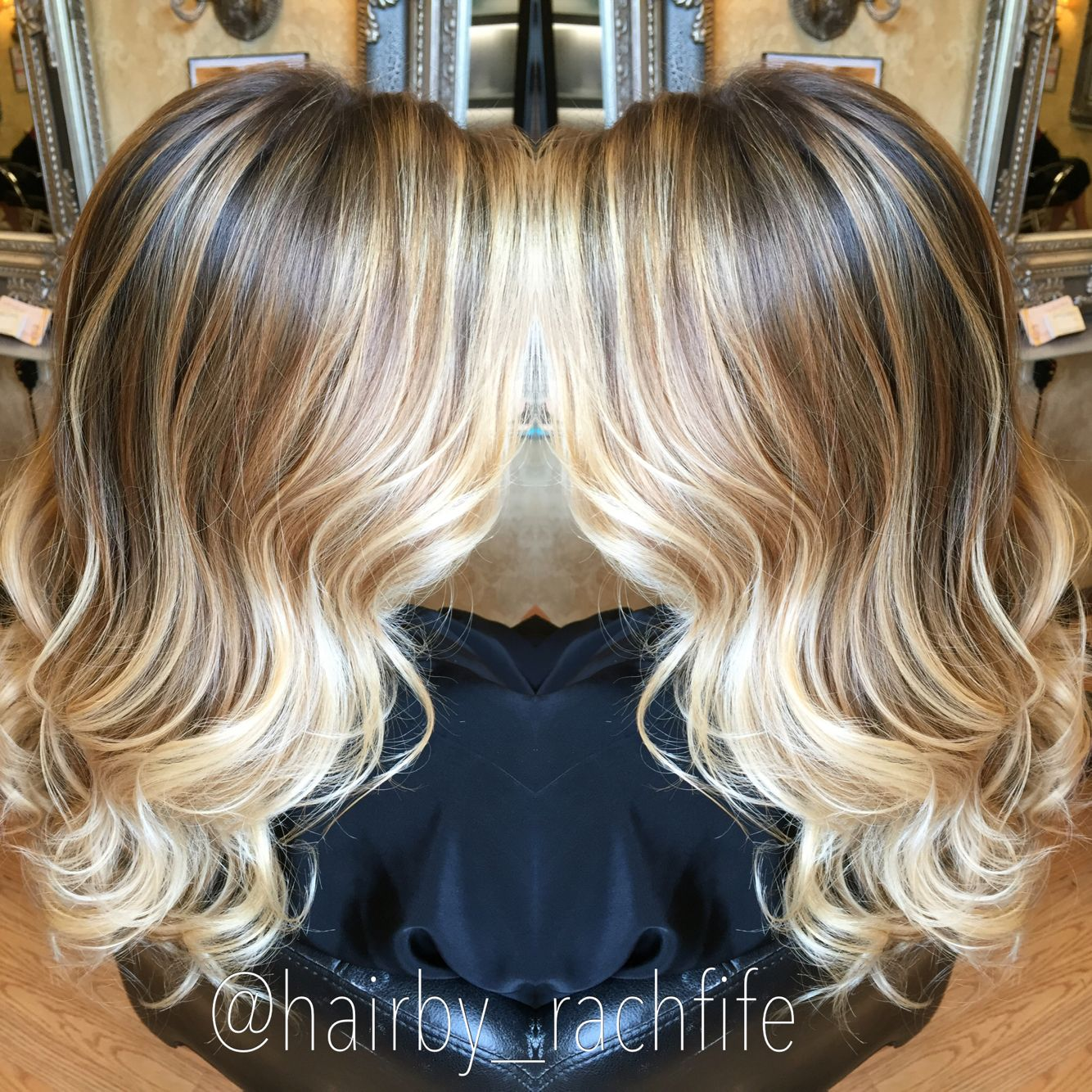 Gorgeous Hand Painted Blonde Balayage Ombre With Beachy Waves Hair