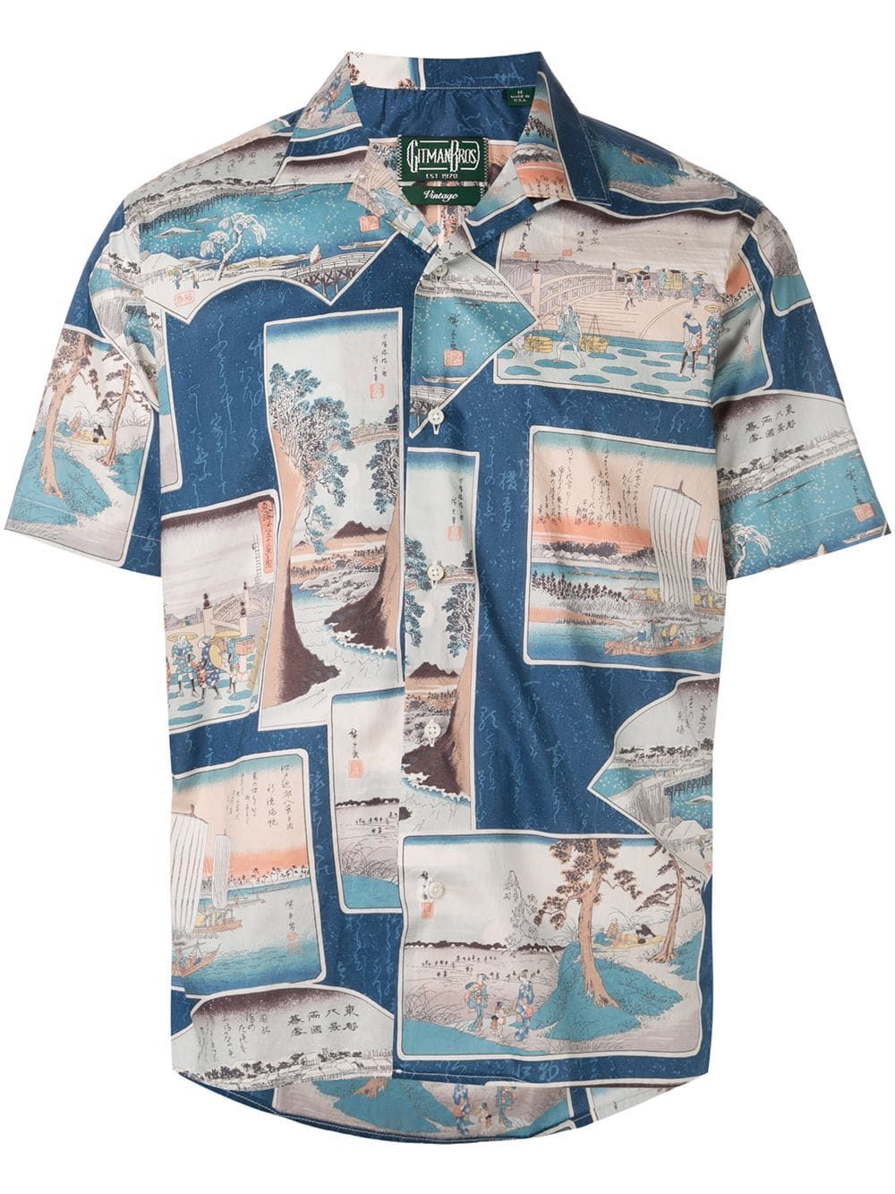 5c2a38886694e Gitman Pre-Owned mixed-print shirt - Blue in 2019 | Products ...