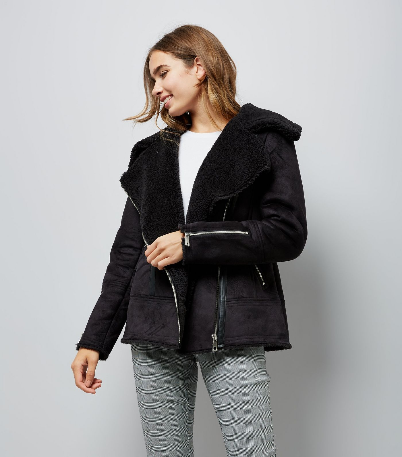 c75ff1cfd Black Faux Shearling Aviator Jacket | new look | Faux shearling ...