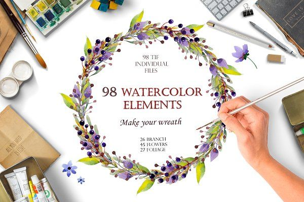 Photo of Watercolour elements. Create wreath – Illustrations. This is super neat!