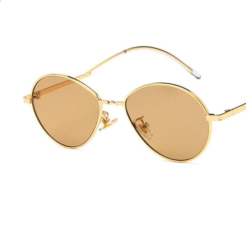 3976f8cecf0b Yeni Küçük Oval Güneş Kadınlar Kadın Gözlük Shades Erkekler Vintage Marka  Tasarımcısı Güneş Gözlükleri Metal Çerçeve