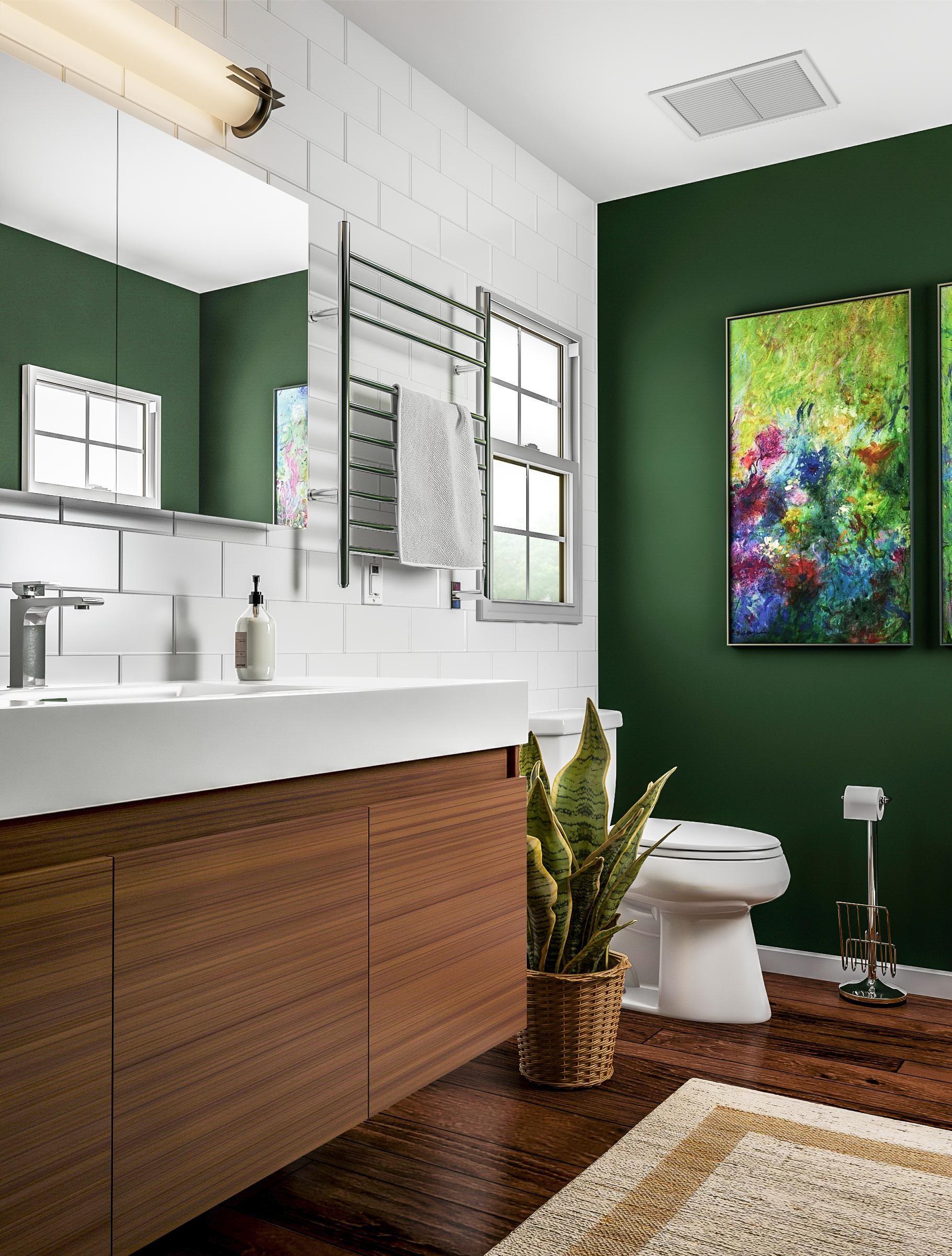 Modern Emerald Green Bathroom Green Bathroom House Design Green Small Bathrooms