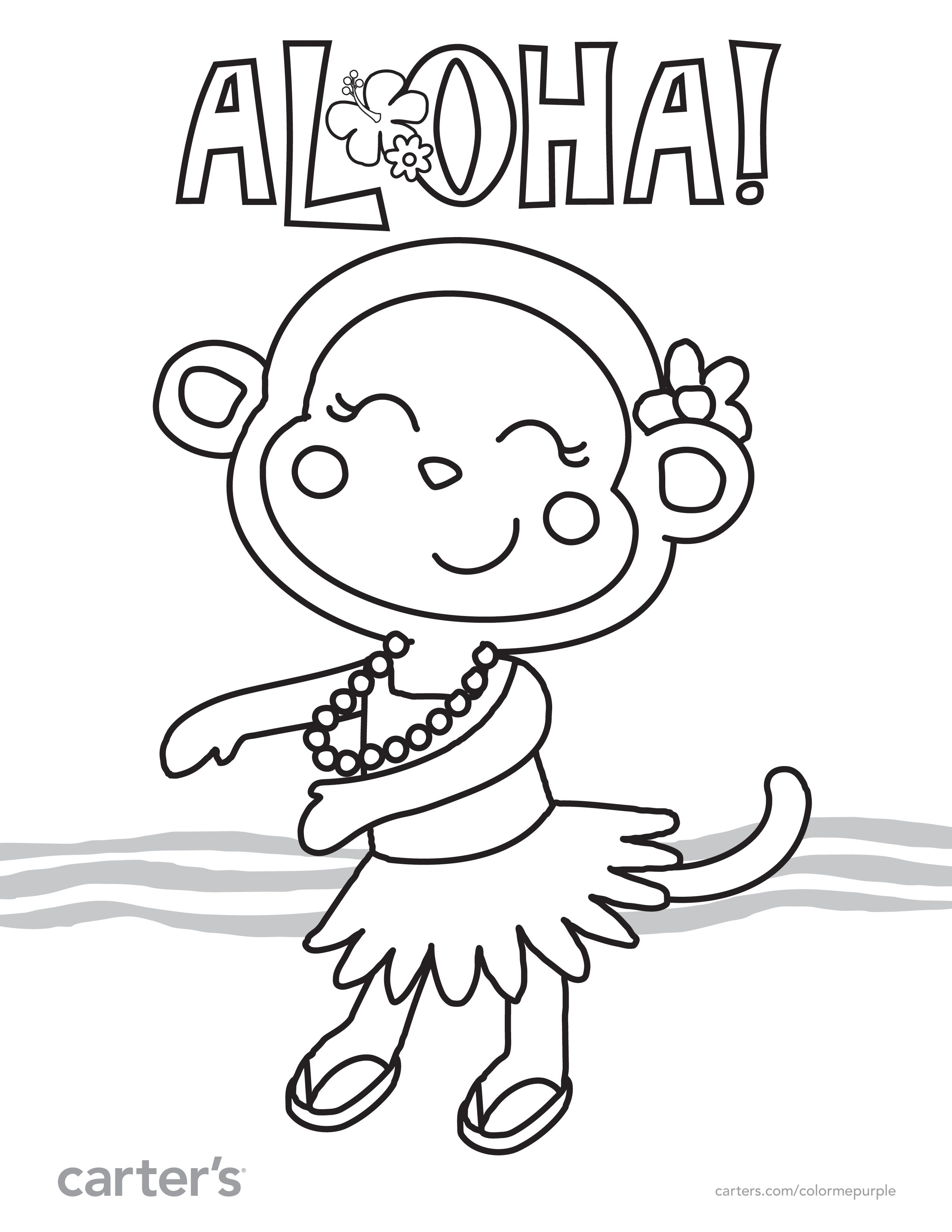 free luau party coloring pages - photo#17