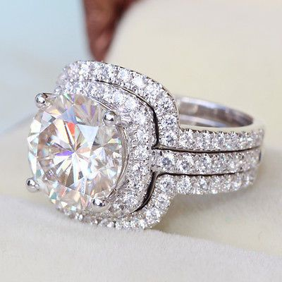 4cttw 3 Set Big Luxury Diamond Ring Engagement Proposal Bridal
