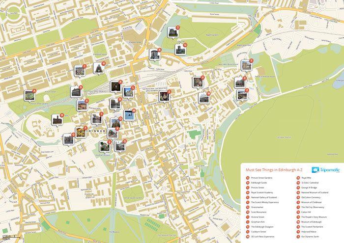 Free printable map of main sights of Edinburgh  Easy to