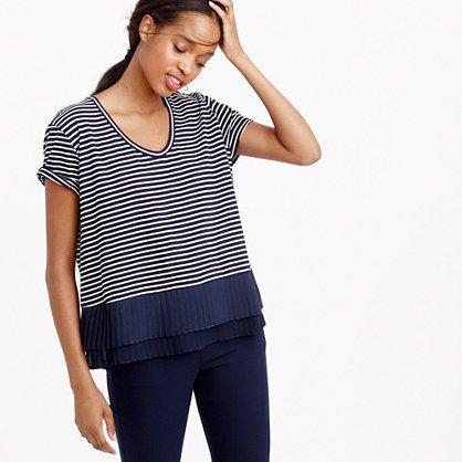 917272fc J.Crew - Pleated chiffon-hem striped T-shirt | STRIPES | Navy ...