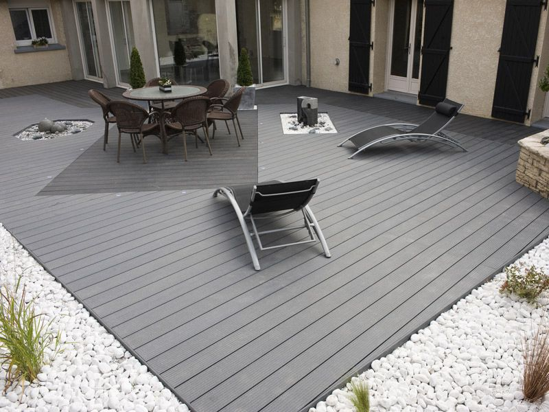 Terrasse composite grise ext rieur pinterest for Lame de terrasse en composite