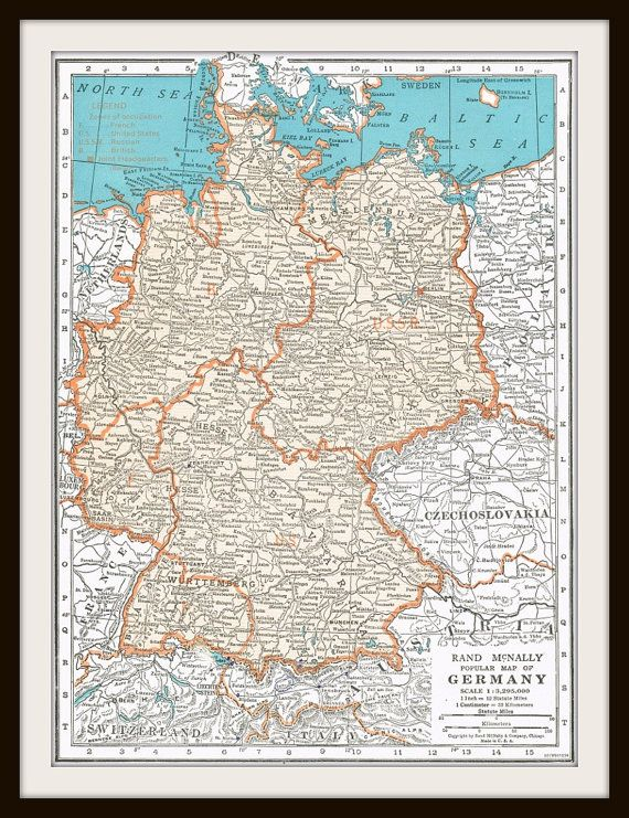 Antique map germany switzerland 1947 map page buy 3 maps antique map germany switzerland 1947 map page buy 3 maps get 1 free gumiabroncs Image collections