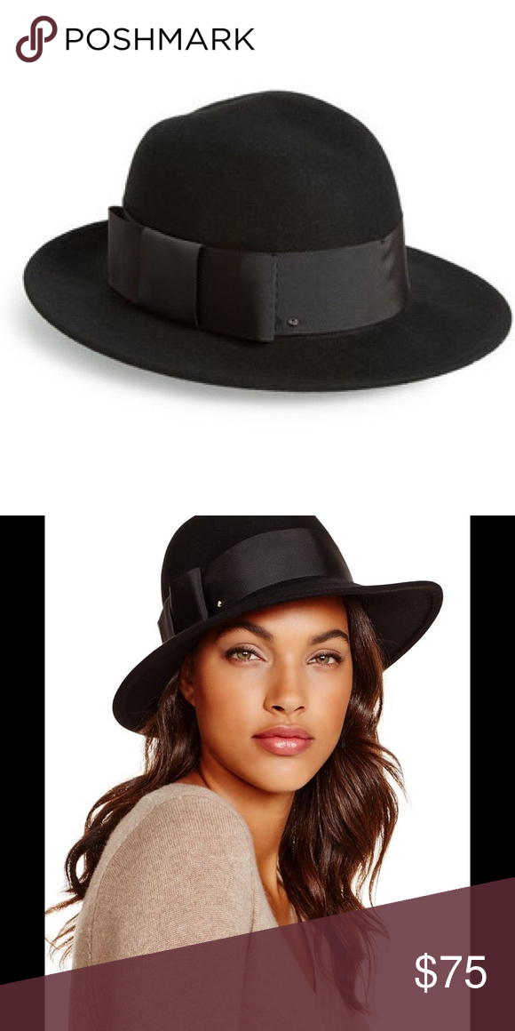 486131d8 ♤️Kate spade ♤ Hat NWT NWT black wool hat *flat grosgrain bow along side of  hat with traditional small metal ♤ symbol *fedora style *approx 22.6