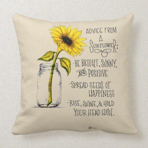Sunflower Advice Beige Throw Pillow | Zazzle.com #sunflowerbedroomideas