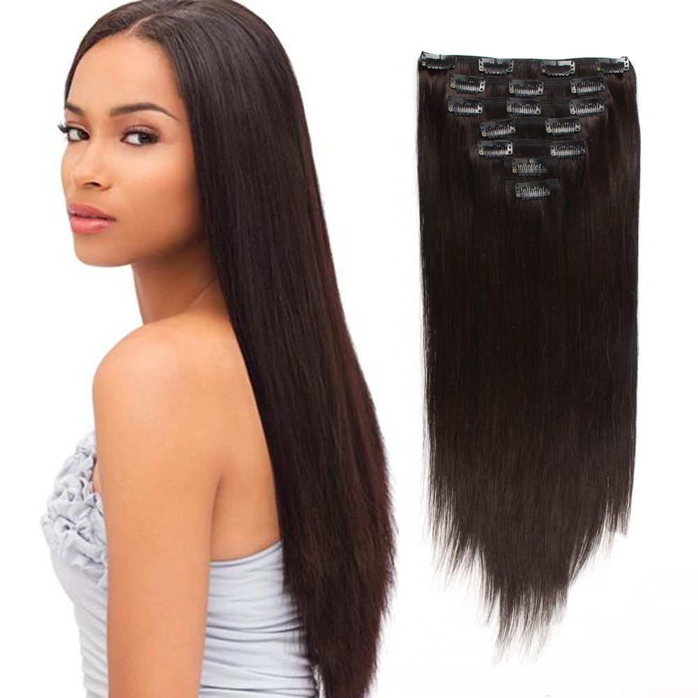 120G Off Black 1B Clip in Hair Extensions Clip in hair