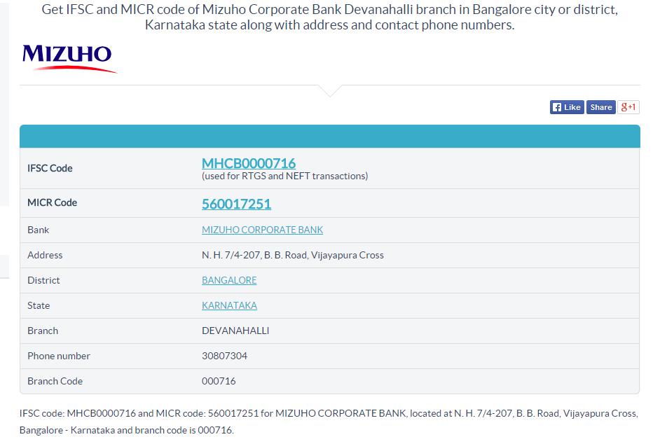 Mizuho Corporate Bank Devanahalli branch IFSC code