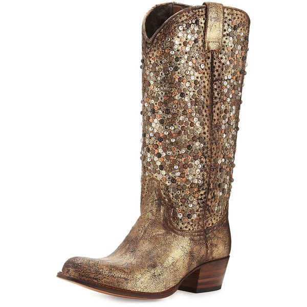 73a131759508 Frye Deborah Studded Tall Western Boot ( 755) ❤ liked on Polyvore featuring  shoes