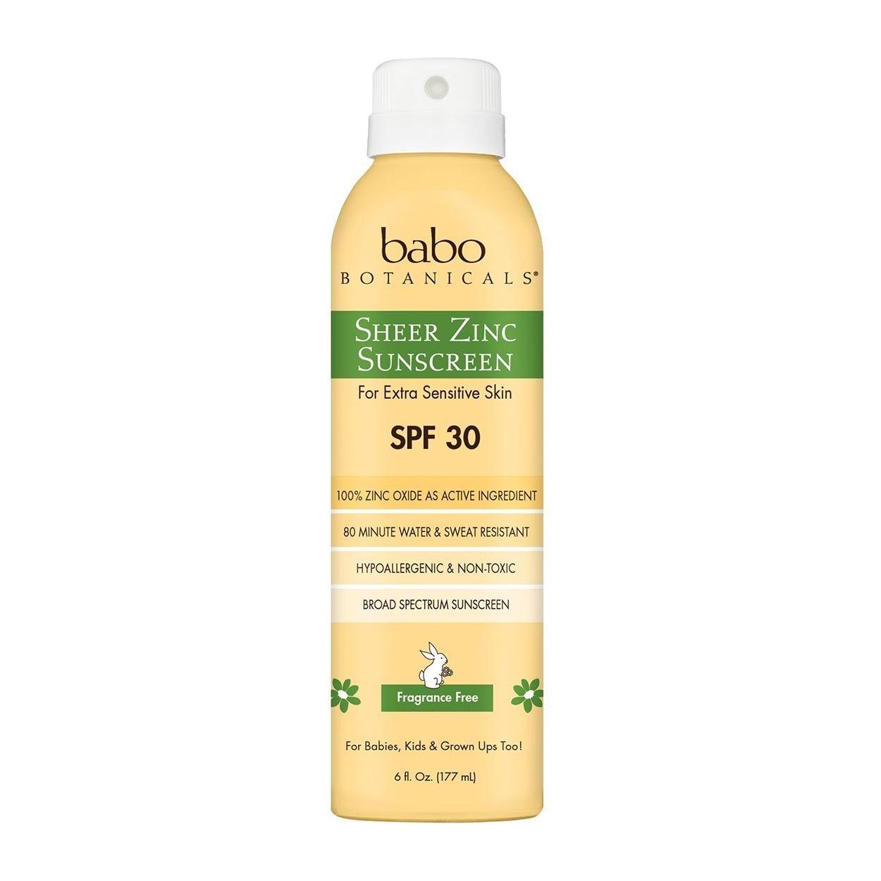 Babo Botanicals Sheer Zinc Continuous Spray Sunscreen Spf 30 Fragrance Free 6oz Zinc Sunscreen Spray Sunscreen Sunscreen