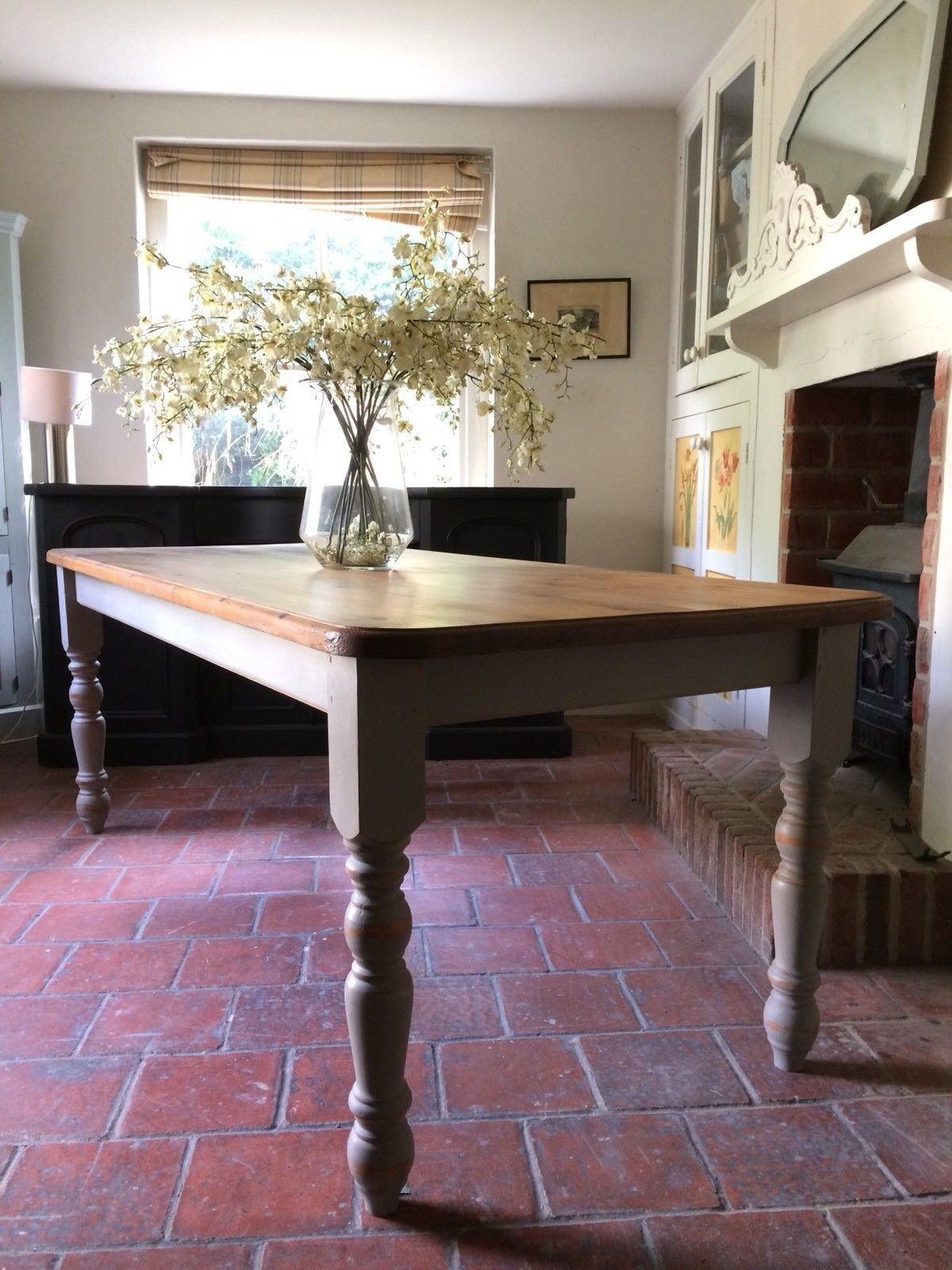 Solid Pine 7ft Kitchen Dining Table Painted Grey French
