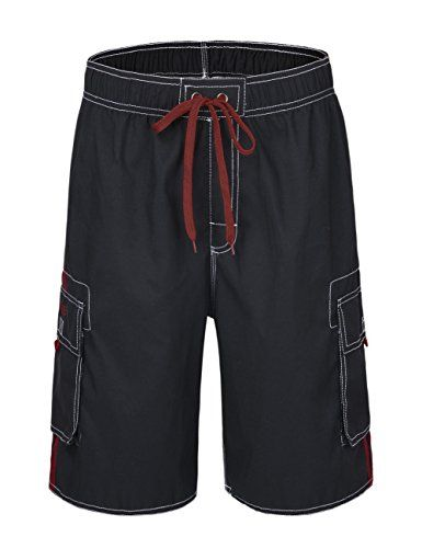 b10b4273c0 NONWE Men's Beachwear Board Shorts Quick Dry with Mesh Lining Swim Trunks  Black with Red Strap 34