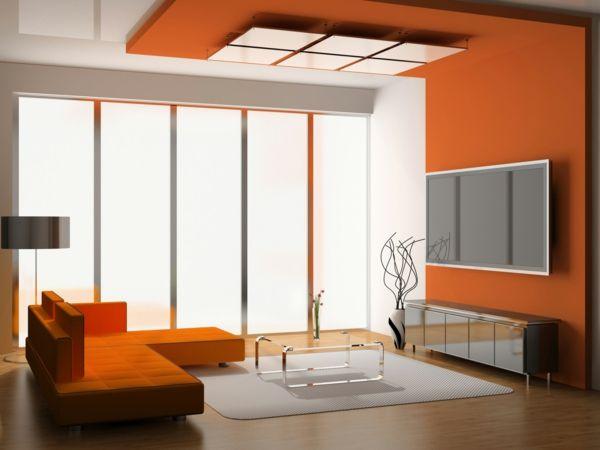 Wohnnung Streichen Ideen - Wohnzimmer Mit Orangen Wänden