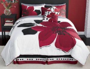 I Love The Color Of This Room Dark Red White And Black Very Romantic Yet Chic Red Bedding Red Bedding Sets White Comforter
