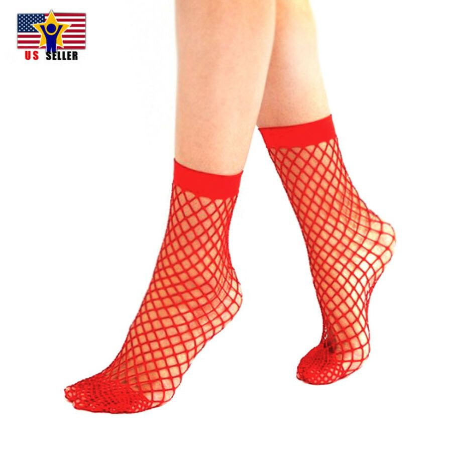 8fd12fac906d15 Women Girl Sheer Fashion Hot Sexy Stocking Hosiery Mesh Red Fishnet Ankle  Socks 6932367800129 eBay#Hot#Sexy#Stocking