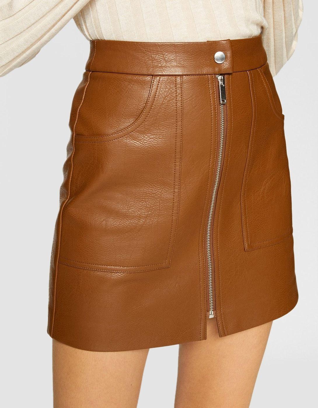 86fdfc5d6 Falda efecto piel zipper | faldas | Falda efecto piel, Faldas y ...