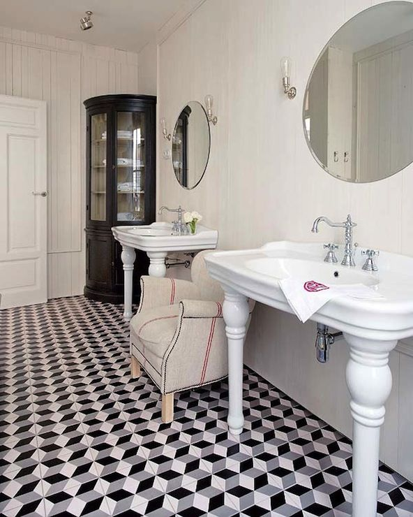 interesting black white marble bathroom floor   Nuevo Estilo - bathrooms - black and white marble floor ...