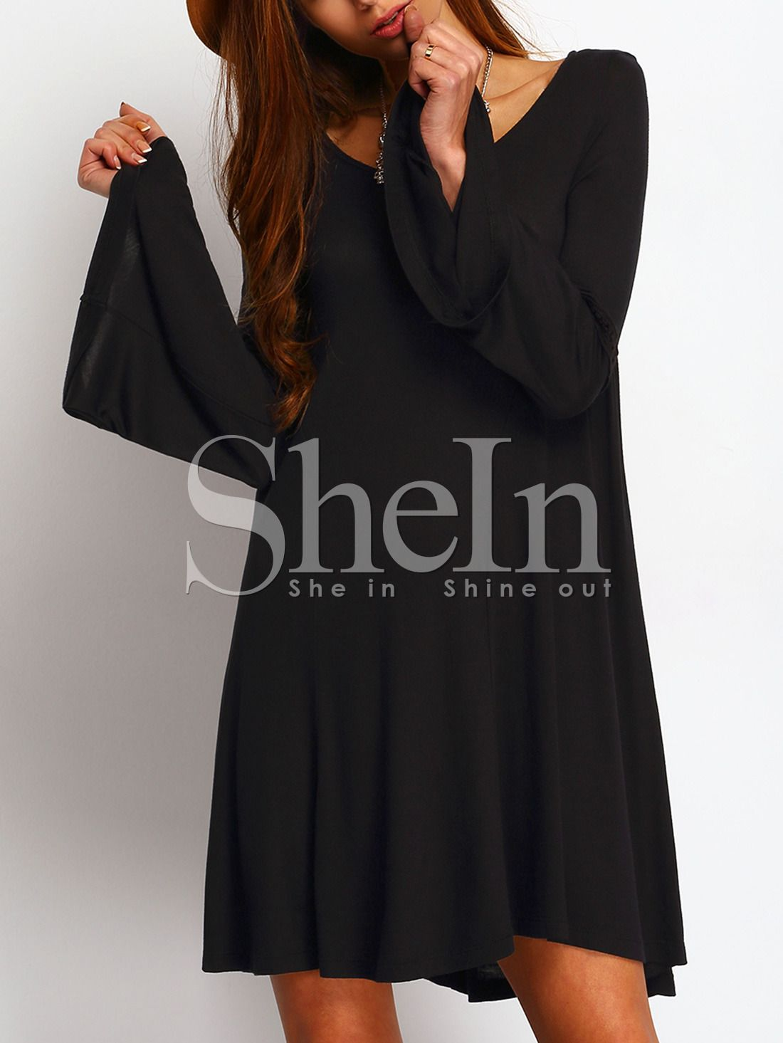 a6ed74b1847 Shop Black Scoop Neck Bell Sleeve Swing Dress online. SheIn offers Black  Scoop Neck Bell Sleeve Swing Dress   more to fit your fashionable needs.