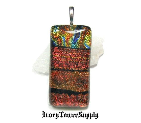 Dichroic Glass Pendant Glass Art Pendant Fused by IvoryTowerSupply