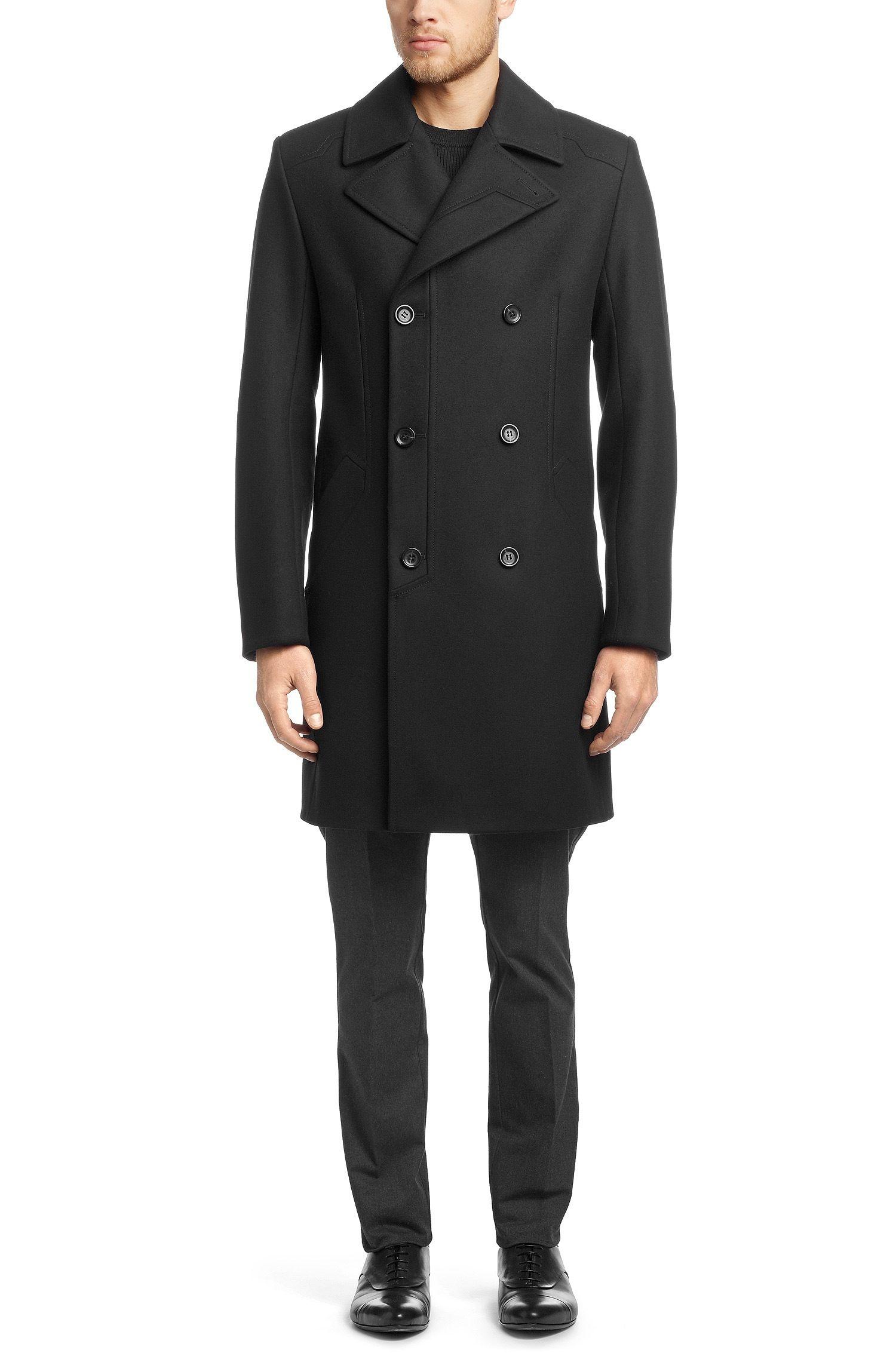 HUGO Woollen coat 'Menox' in a newwool blend Dark Blue