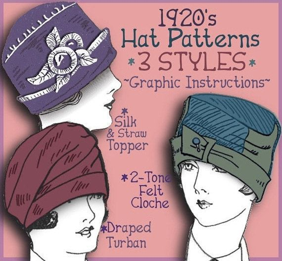 HAT Patterns! Just $3.99 for all 3 versions shown! Circa 1920s! Think DOWNTON ABBEY! Download e-booklet at eVINTAGEpatterns on etsy
