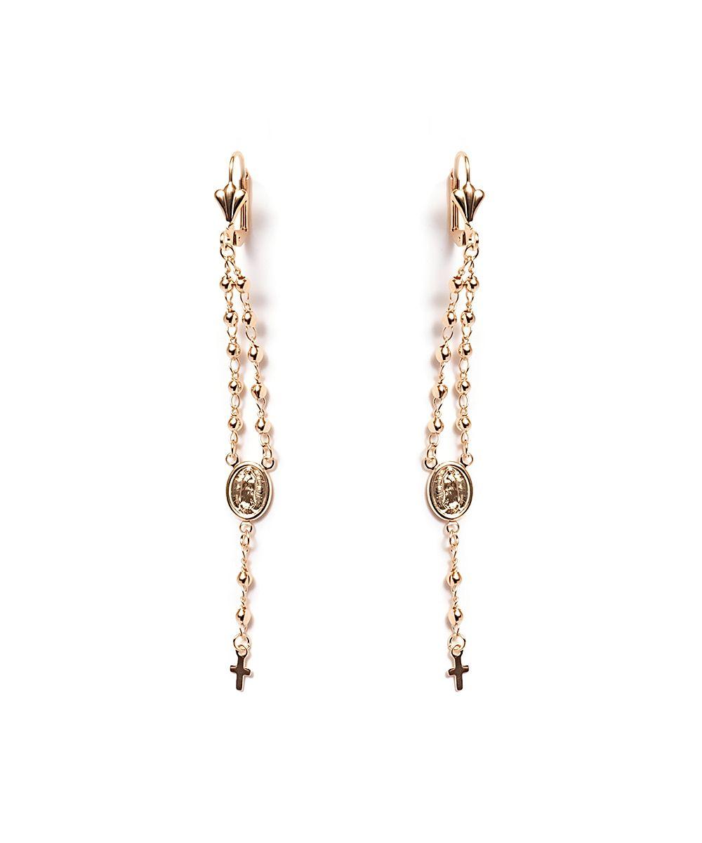 Gold virgin mary u cross rosary drop earrings virgin mary drop
